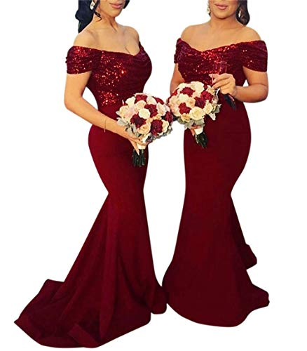 LeoGirl Women's Off Shoulder Sequins Satin Bridesmaid Dress Long Mermaid Wedding Party Gown Burgundy (Sequin Satin Dress)