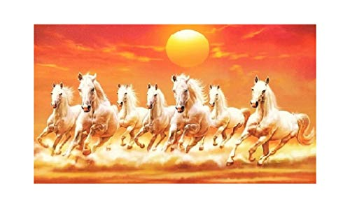 Vastu 7 Running Horses Wall Sticker Poster Without Frame (Vinyl 24 X48 Inches) (Horses 7 Running)