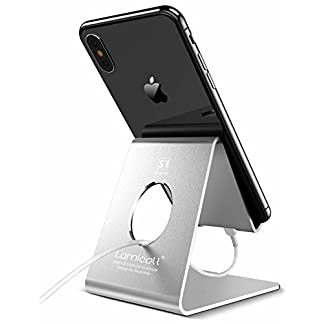Lamicall Cell Phone Stand Compatible with All Android Smartphone, 7 6 6S 8 X Plus 5 5s 5c XS Max XR Charging, Universal Accessories Desk-Silver 41nh3 2B1X1GL