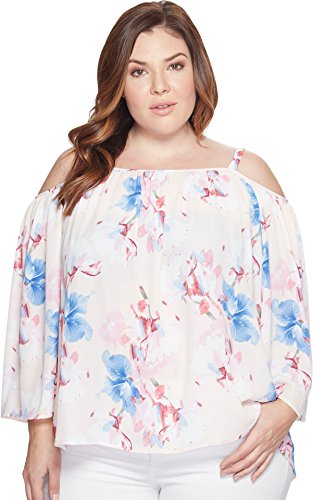 Vince Camuto Specialty Size Women's Plus Size Poetic Bouquet Cold-Shoulder Blouse Pink Mimosa 2X (US - Bouquet Mimosa