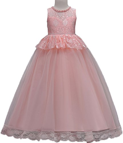 Shiny Toddler Little Girls Lace Birthday Party Ball Gown Floor Length Dress,5 to 6(Size Tag=120),Pink
