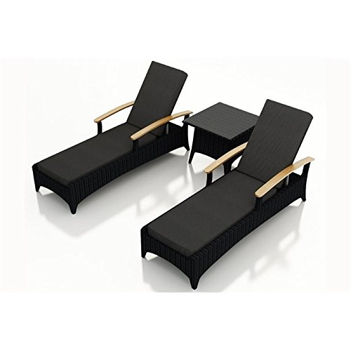 Harmonia Living HL-AR-CB-3RCLS-CC 3 Piece Arbor Chaise Lounge Set with Cushions, Canvas Charcoal