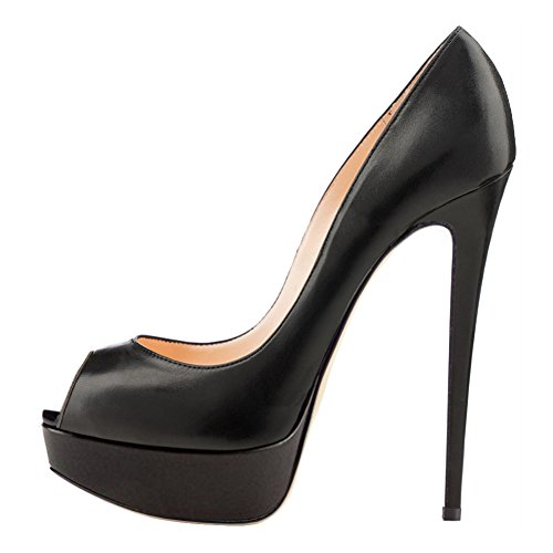Heels Party Women's Peep MERUMOTE Toe High for Matte Platform Wedding Pumps Black Dress Shoes BxwPECPd