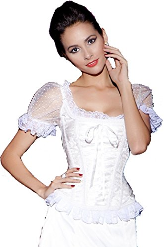 Vacodo Women's Floral Tapestry Brocade Lace up Boned Overbust Corset Top (Large, White) (Dobby Costume For Women)