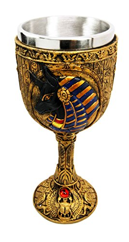 [Ancient Egyptian God Of The Dead Anubis Resin Wine Goblet Chalice With Stainless Steel Liner] (Egyptian Wine)