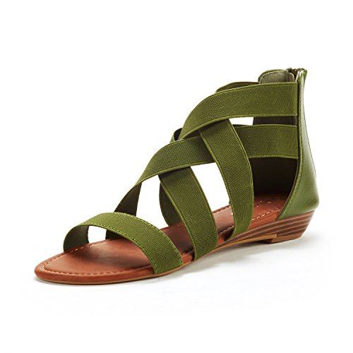 DREAM PAIRS Women's ELASTICA8 Army Green Elastic Ankle Strap Low Wedges Sandals Size 8.5 M US