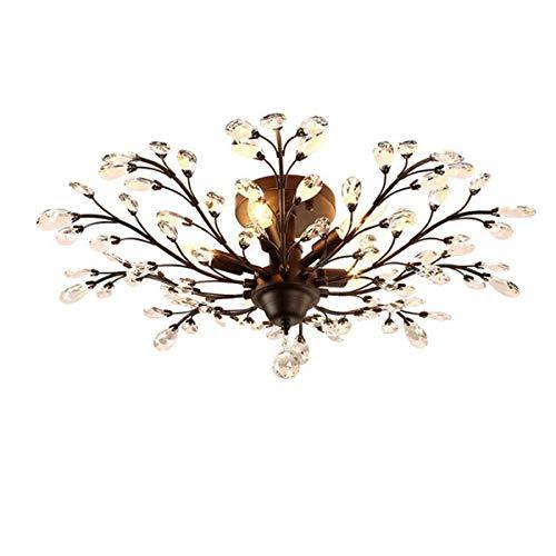 Ganeed Crystal Ceiling Light,Vintage Chandelier, Modern Elegant K9 Crystal Glass Chandelier Flush Mount Ceiling Lighting Fixture for Living Room Bedroom Restaurant Porch- Matte Black - 5 Lights from Ganeed