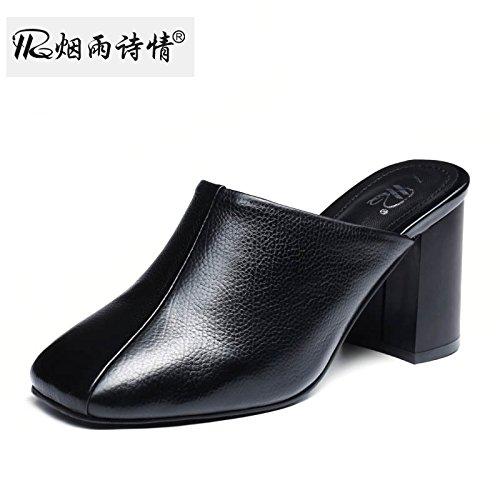 De Talons Baotou Hauts Pantoufles Talon Cm SFSYDDY Summer Cool Pantoufles 7 black Chaussures Les Pied Le Femmes Mis De OIPawqw