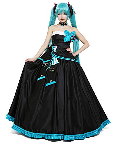 Coskidz Women's Hatsune Miku Cosplay Costume Concert Dress Black Outfit (S, Black) ()