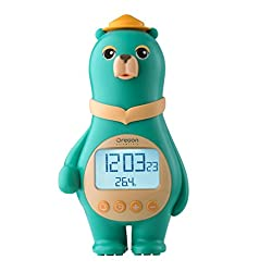 Oregon Scientific BC100 Green Big Bear Clock with Digital Temperature Time Date for Children and Kid Home Bedroom