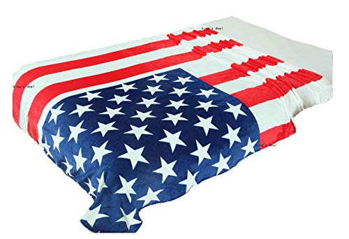 kings deal- Tm Bed Blanket:79 x 59 Super Soft Warm Air Conditioning Throw Blanket for Bedroom Living Rooms Sofa,Oversized Travel Throw Cover (USA Flag1)