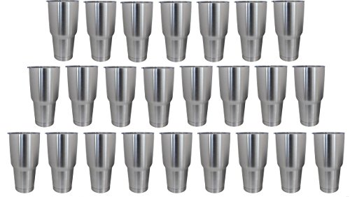 Stainless Steel, Double Wall Vacuum Insulated Tumblers - Case of 24 Tumblers - Great for Powder Coating, Dipping, Engraving, Etching or as Party Favors - Each Tumbler Comes with a White Gift Box by The HOGG