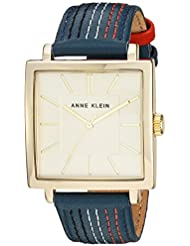 Anne Klein Womens AK/2740CHBL Gold-Tone and Navy Blue Leather Strap Watch