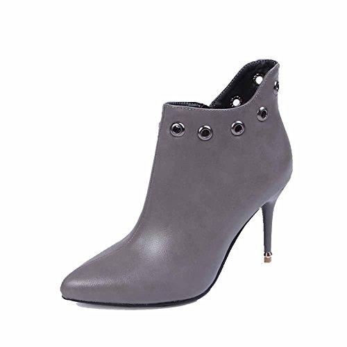 VogueZone009 Damen Spitz Zehe Knöchel Hohe Stiletto Rein PU Leder Stiefel mit Metallisch Grau