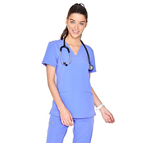 (FIGS Medical Scrubs Women's Casma Three-Pocket Scrub top (Ceil Blue, S))