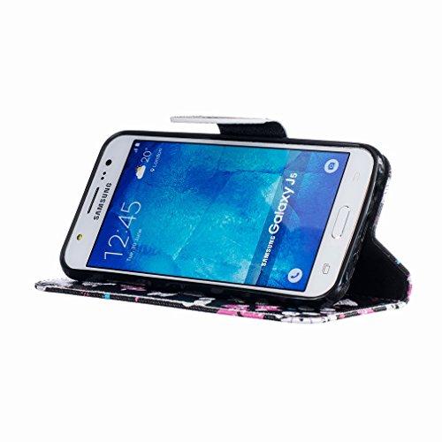 Yiizy Samsung Galaxy J5 J500 Funda, Gato Vasos Diseño Solapa Flip Billetera Carcasa Tapa Estuches Premium PU Cuero Cover Cáscara Bumper Protector Slim Piel Shell Case Stand Ranura para Tarjetas Estilo
