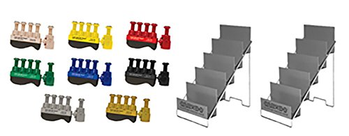 CanDo 10-3787 Digi-Flex Thumb Set of 8 with 2 Metal Stand, Yellow/Red/Green/Blue/Black/Tan/Silver/Gold by Cando