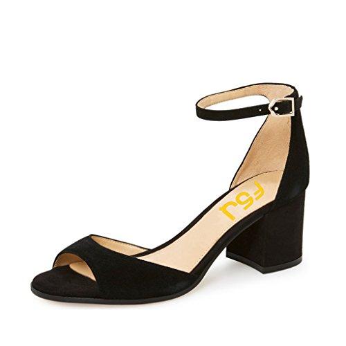 Fsj Mujeres Graceful Barely-there Tobillero Con Hebilla De Correa Peep Toe Mid Block Heels Sandalias De Prom Tamaño 6-13 Us Black