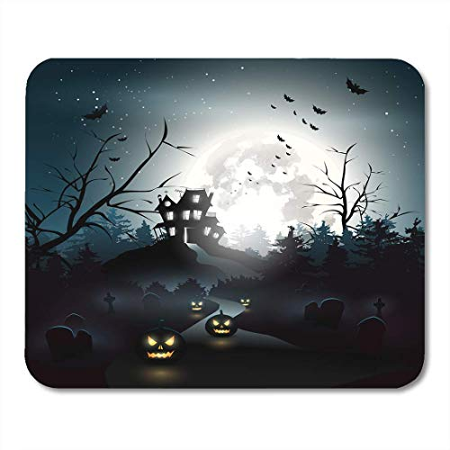 (JTNF Upgrade Gaming Mouse Pad, Mouse Mat, Mouse Pads Horror Haunted Scary House in The Woods Halloween Night Graveyard Mouse mats Mouse)