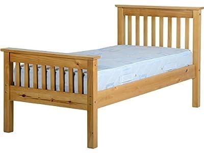 Seconique Monaco Solid Pine Wooden Bed Frame - Single, Double, Kingsize - Antique Pine, Distressed Waxed Pine or White (Antique Pine, 3FT Single) by Right Deals UK