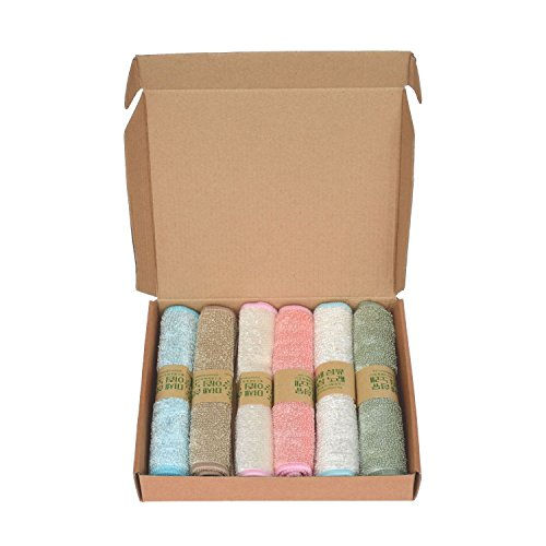 Reusable Scrubbing Microfiber Cotton Cloths, Set of 6