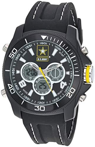 US Military Men s Analog-Digital Chronograph Black Silicone Strap Watch by Wrist Armor