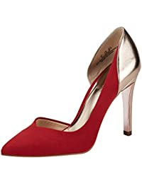 Women's Pointed Toe Stiletto High Heel Pumps Ladies Patchwork D'Orsay Slip On Dress Party Shoes