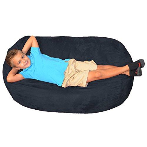 Micro Suede Bean Bag Lounger (Comfy Sacks Kids Lounger Memory Foam Bean Bag Chair, Navy Micro Suede)