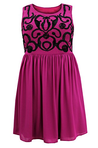 Curvylicious Women's Plus Size Sleeveless Ribbon Trim Scoop Neck Skater Dress – grape-black, 20 Plus