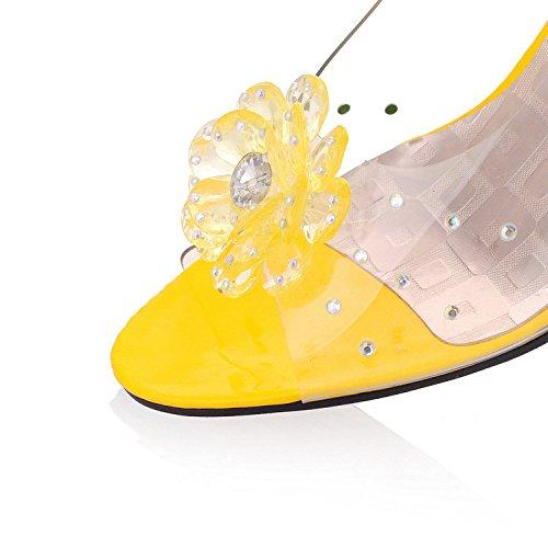 de de Dedo Zapatos 39 Boca Mujer Sexy ZHZNVX Verano de pie de de Zapatos Transparentes del pez Zapatos Planos Cristal Sandalias Tacón de de Joker Cuña Azul xW1Fxn
