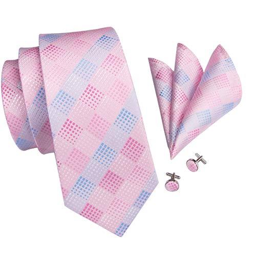 Hi-Tie Men Pink Blue Check Plaid Tie Necktie with Cufflinks and Pocket Square Tie Set