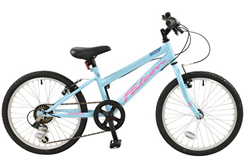 Falcon Starlight Girls' Mountain Bike Blue/Pink, 11'' inch steel frame, 6 speed powerful front and rear v-brakes hi-tensile steel frame and rigid mtb fork by Falcon
