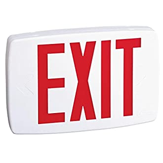 Lithonia Lighting LQM S W 3 R 120/277 M6 Quantum Thermoplastic LED Exit Sign with Stencil-Faced White Housing and Red Letters