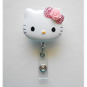 Amazon hello kitty id badge reel pink and clear lovekitty 3d blinged out bow hello kitty inspired rhinestone retractable badge reel name badges reheart Images