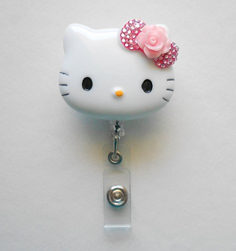 LOVEKITTY 3D Blinged Out Bow Hello Kitty Inspired Rhinestone Retractable Badge Reel / Name Badges / ID Badge Holder (Rose Flower)