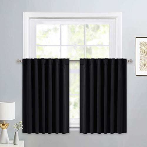 (PONY DANCE Window Curtains Tiers - Home Decor Rod Pocket Solid Black Out Curtain Valances Decorative for Small Bathroom/Bedroom, 52-inch x 36-inch, Black, One Pair)