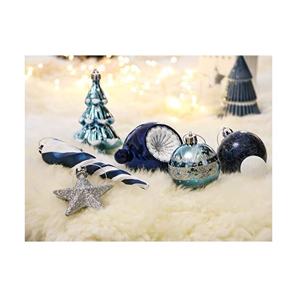 Valery Madelyn Palle di Natale 100 Pezzi di Palline di Natale, 3-5 cm Auguri Invernali Argento e Blu Infrangibili Ornamenti di Palle di Natale per Decorazioni per Alberi di Natale 6 spesavip