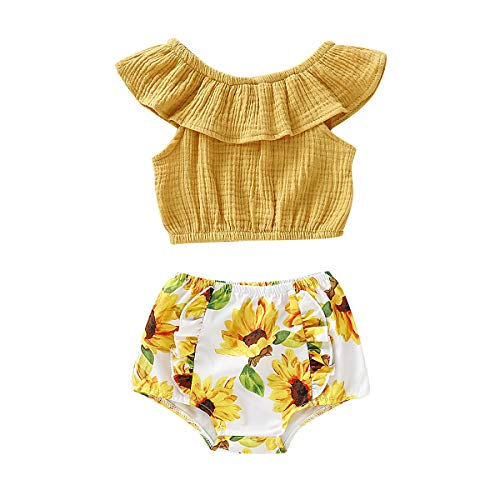 Baby Girl Summer Clothes Short Pants and Top Set for Baby Girl 1st Birthday Girl Outfit Infants Girls Shorts Outfits Short Sleeve Tops Briefs Set 6-12 Months