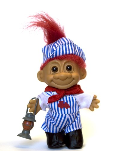 (My Lucky Troll Train Conductor Troll Doll (Red Hair) by Russ Berrie)