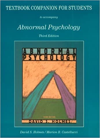 Book Abnormal Psychology by David S. Holmes (1997-01-03)