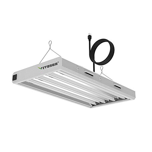 VIVOSUN 6500K 2FT T5 HO Fluorescent Grow Light Fixture for Indoor Plants, UL Listed High Output Fluorescent Tubes, 4 Lamps