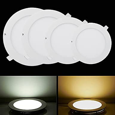Commercial Lighting Pocketman 5 Pack Round Ultrathin 15W 7-inch Flat LED Recessed Panel Ceiling Light,1100lumens,Cool White,AC85-265V,for Home Office