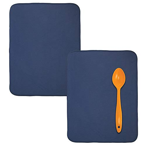 mDesign Ultra Absorbent Reversible Microfiber Dish Drying Mat and Protector for Kitchen Countertops, Sinks: Folds for Compact Storage, Extra Large - Pack of 2, Navy Blue/White