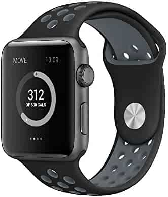 AWSTECH 42mm Soft Silicone Sport Style Replacement Watch band Strap for Apple iWatch Series 1 Series 2 - Black/Gray