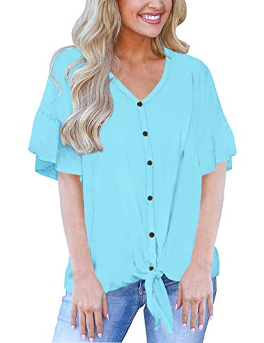 Womens Tops Short Sleeve Tie Front Blouses Loose Casual Summer Shirts Oversized Clothing Blue