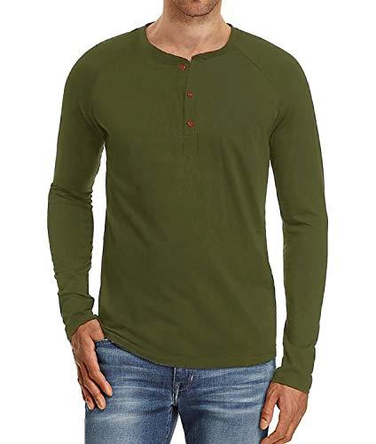 PEGENO Men's Casual Slim Fit Long Sleeve Henley T-Shirts Cotton Shirts Amry Green-US L (Full T-shirt Short Sleeve)
