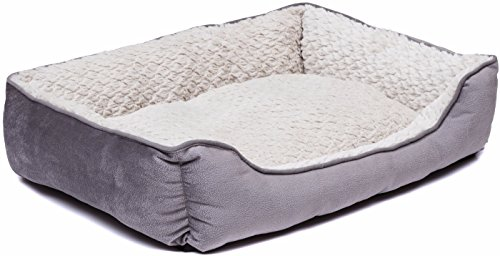Creative Pet Group Medium Dog Bed Fedora/Beige Soft Plush, 24 x 18
