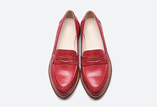 Honeystore Damens Retro Brogue Carving Penny Echtes Leder Oxford Smoking Schuhe Lace-up Loafers Flats Einzelschuhe Rot