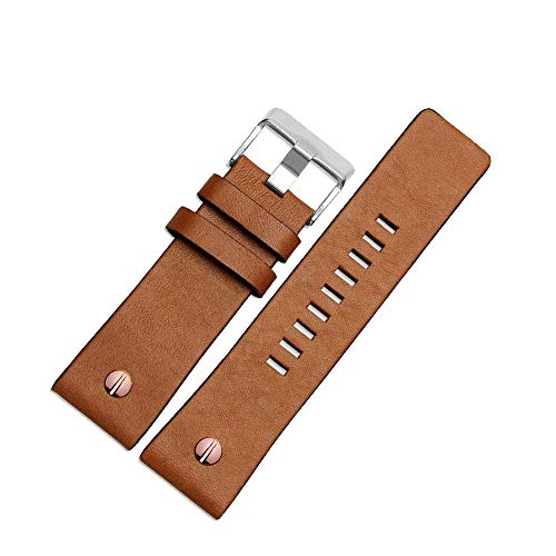 Finjin R Calfskin Leather Watch Band Suitable for Men's Diesel Watches (26 mm, Brown) (Band Watch Calfskin)