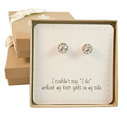 Bridesmaid Gifts - Classy Crystal Stud Earrings, Bridesmaid Jewelry, Set of 7